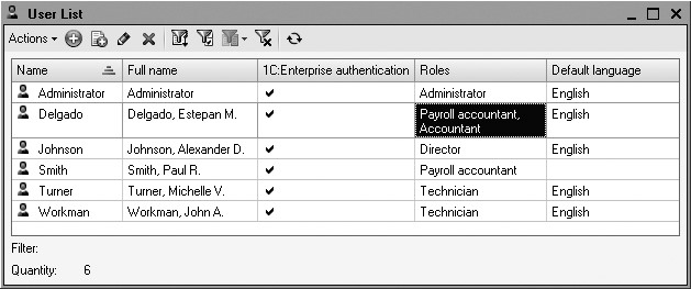 1C:Enterprise 8. Practical Developer's Guide. Lesson 22. User List and Their Roles