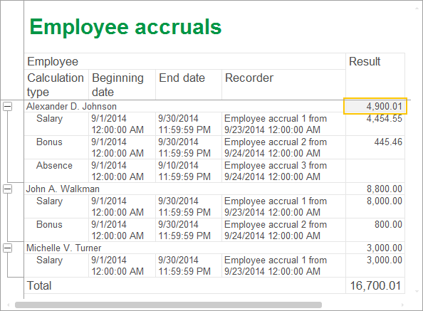 Lesson 18 (3:40). Using calculation registers / Employee accruals report