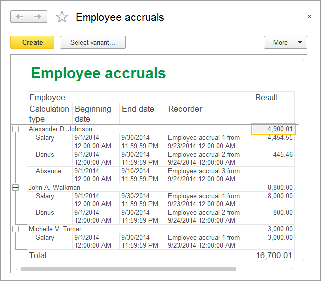 Lesson 18 (3:40). Using calculation registers / Employee accruals report / In 1C:Enterprise mode